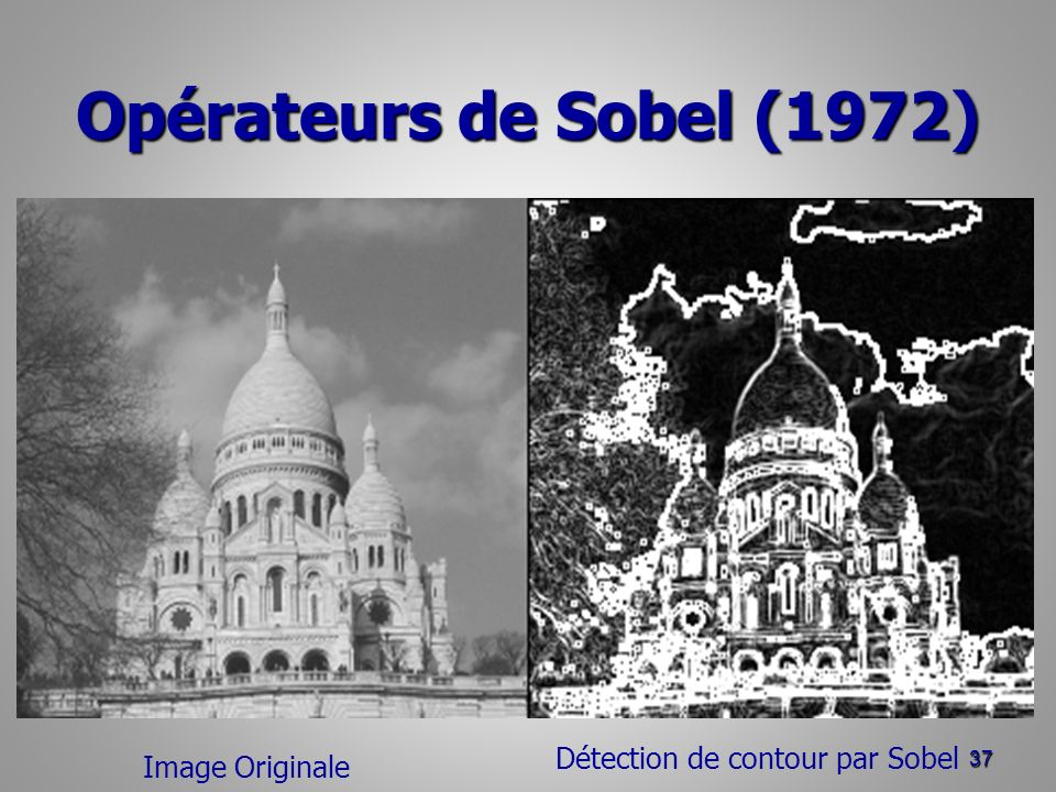 Opérateurs de Sobel (1972) 37 Image Originale Détection de contour par Sobel