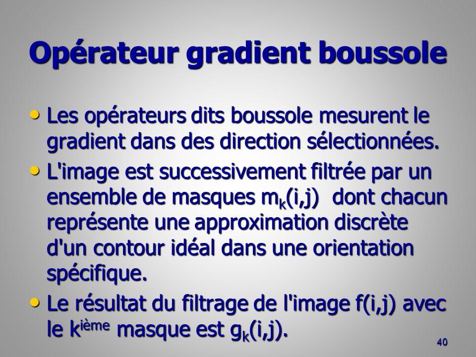 Opérateur gradient boussole Les opérateurs dits boussole mesurent le gradient dans des direction sélectionnées. Les opérateurs dits boussole mesurent