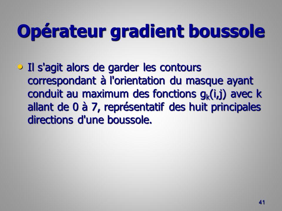 Opérateur gradient boussole Il s'agit alors de garder les contours correspondant à l'orientation du masque ayant conduit au maximum des fonctions g k