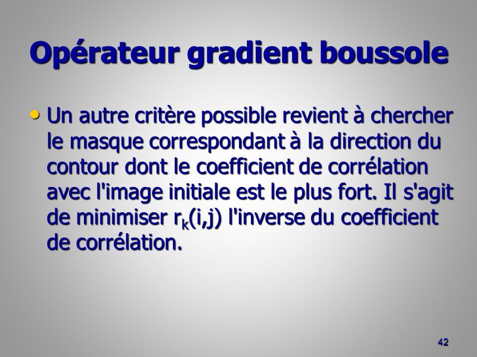 Opérateur gradient boussole Un autre critère possible revient à chercher le masque correspondant à la direction du contour dont le coefficient de corr