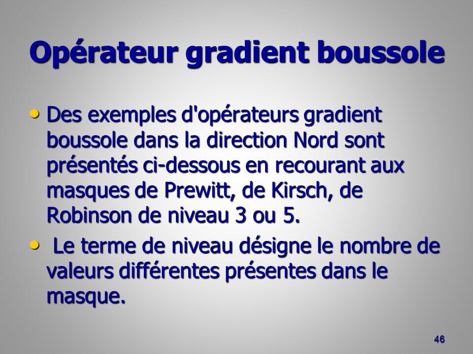 Opérateur gradient boussole Des exemples d'opérateurs gradient boussole dans la direction Nord sont présentés ci-dessous en recourant aux masques de P