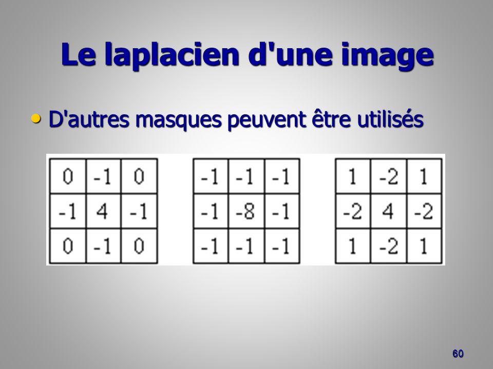 Le laplacien d'une image D'autres masques peuvent être utilisés D'autres masques peuvent être utilisés 60