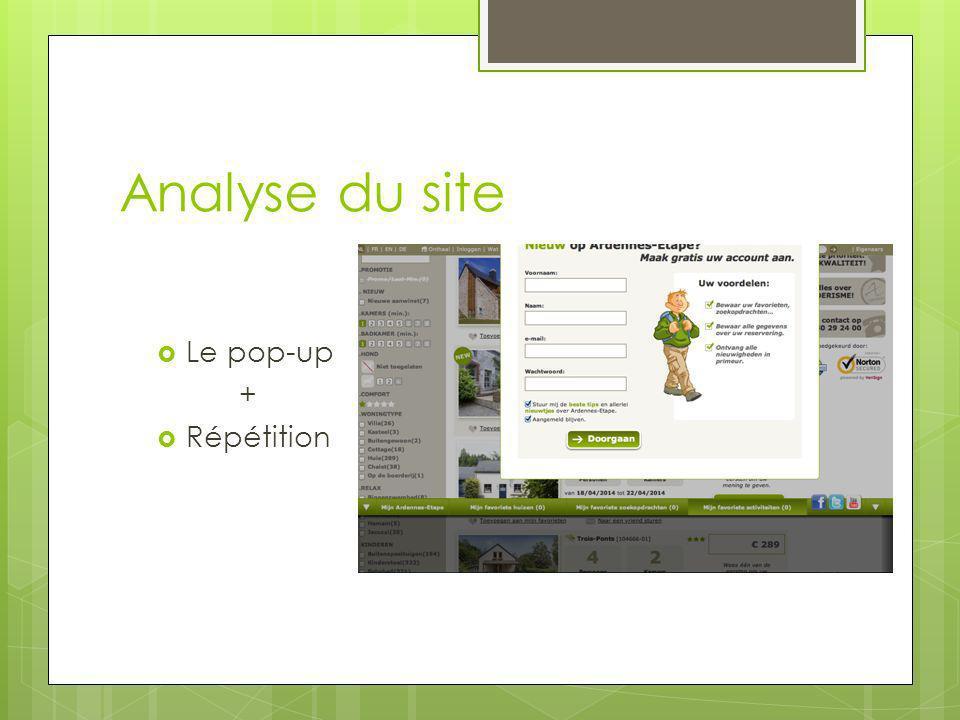 Analyse du site Le pop-up + Répétition