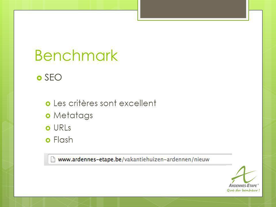 Benchmark SEO Les critères sont excellent Metatags URLs Flash