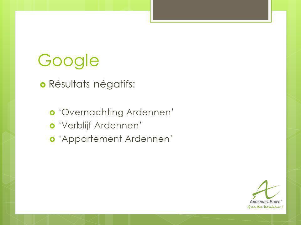 Google Résultats négatifs: Overnachting Ardennen Verblijf Ardennen Appartement Ardennen