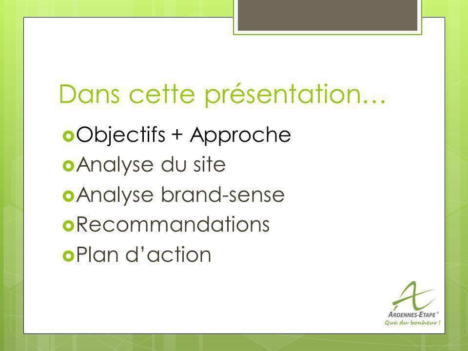 Dans cette présentation… Objectifs + Approche Analyse du site Analyse brand-sense Recommandations Plan daction