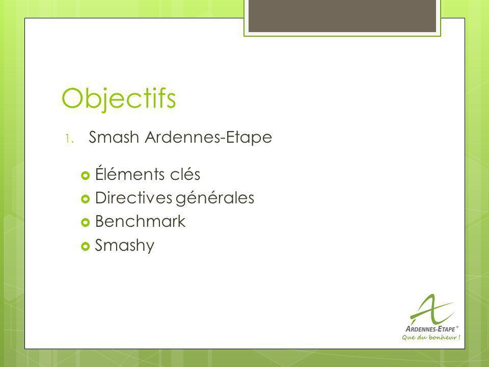 Objectifs 1. Smash Ardennes-Etape Éléments clés Directives générales Benchmark Smashy