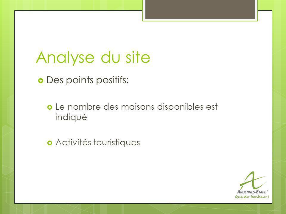 Analyse du site Des points positifs: Le nombre des maisons disponibles est indiqué Activités touristiques