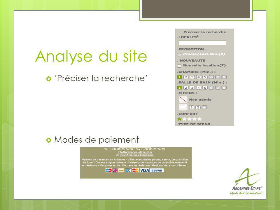 Analyse du site Préciser la recherche Modes de paiement