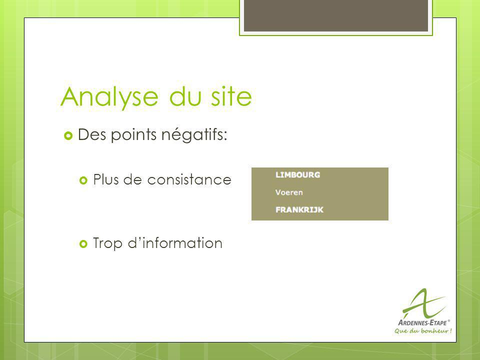 Analyse du site Des points négatifs: Plus de consistance Trop dinformation
