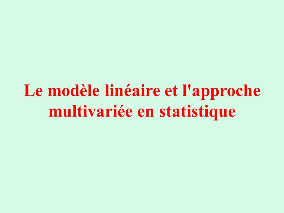 Le modèle linéaire et l'approche multivariée en statistique