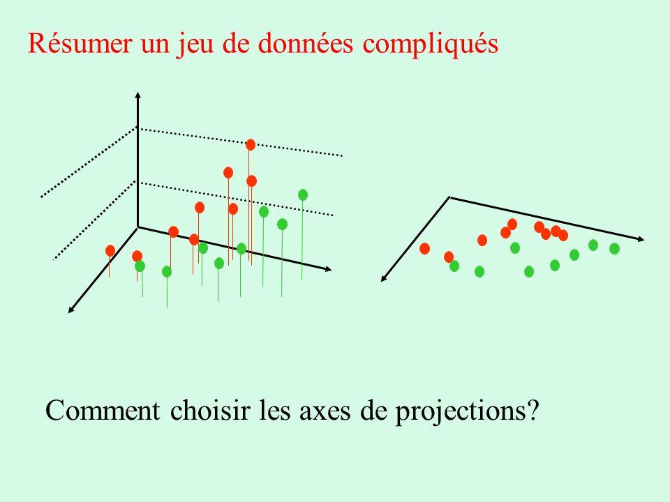 Résumer un jeu de données compliqués Comment choisir les axes de projections?