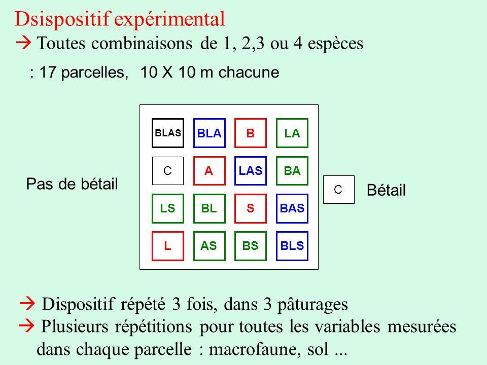Dsispositif expérimental Toutes combinaisons de 1, 2,3 ou 4 espèces BLAS C ALASBA BLABLA BASSBLLS LASBSBLS C : 17 parcelles, 10 X 10 m chacune Bétail