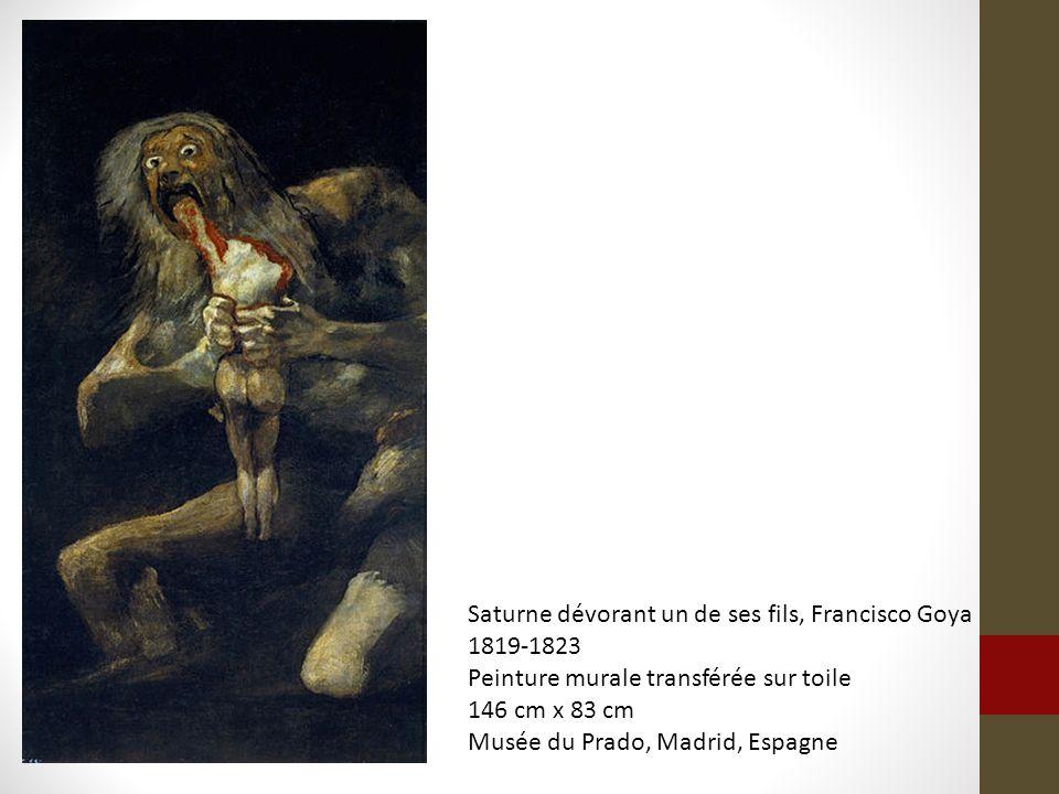 Saturne dévorant un de ses fils, Francisco Goya 1819-1823 Peinture murale transférée sur toile 146 cm x 83 cm Musée du Prado, Madrid, Espagne
