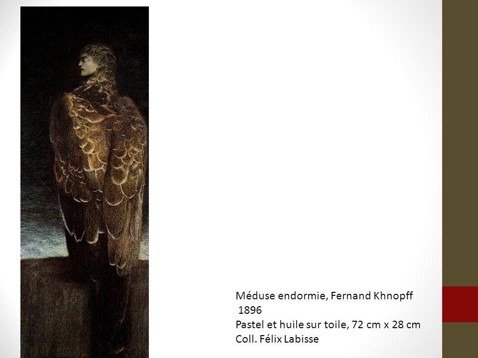 Méduse endormie, Fernand Khnopff 1896 Pastel et huile sur toile, 72 cm x 28 cm Coll. Félix Labisse