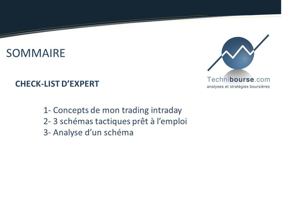 SOMMAIRE CHECK-LIST DEXPERT 1- Concepts de mon trading intraday 2- 3 schémas tactiques prêt à lemploi 3- Analyse dun schéma