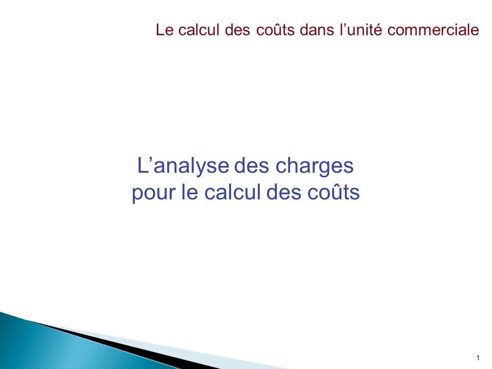 1 Lanalyse des charges pour le calcul des coûts Le calcul des coûts dans lunité commerciale