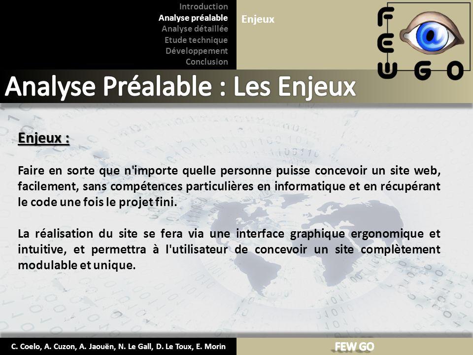 C. Coelo, A. Cuzon, A. Jaouën, N. Le Gall, D. Le Toux, E. Morin Enjeux : Faire en sorte que n'importe quelle personne puisse concevoir un site web, fa