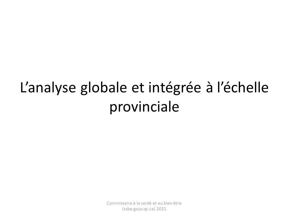 Lanalyse globale et intégrée à léchelle provinciale Commissaire à la santé et au bien-être (csbe.gouv.qc.ca) 2011