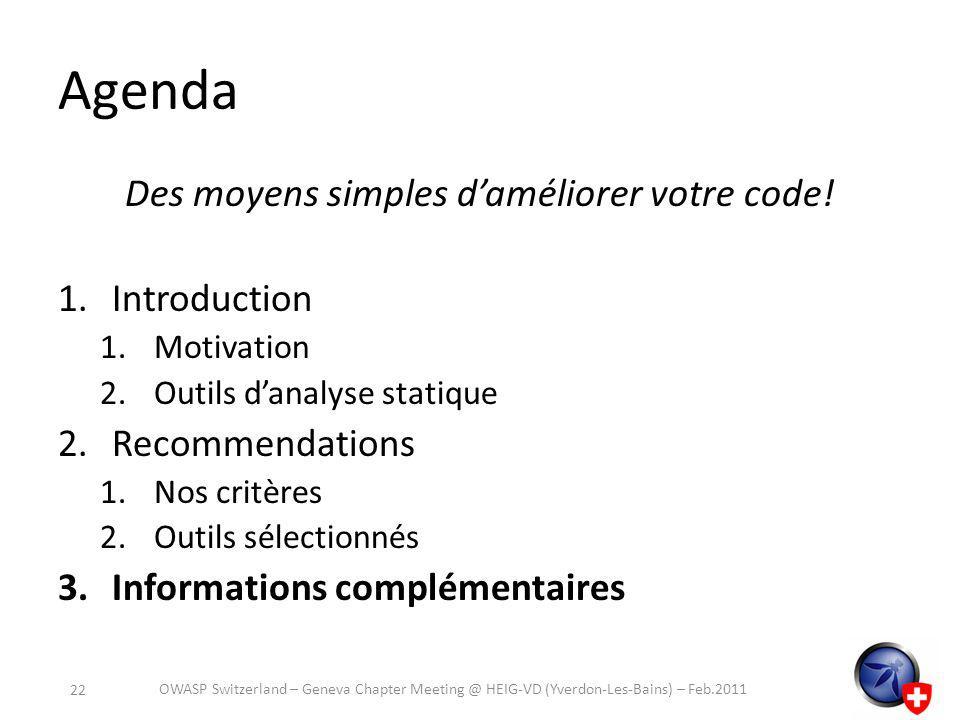 Agenda Des moyens simples daméliorer votre code.