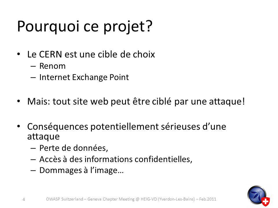 Plus dinformations http://cern.ch/security/recommendations/en/ code_tools.shtml http://cern.ch/security/recommendations/en/ code_tools.shtml – Présentation des outils, – Conseils dinstallation, configuration et utilisation – Explication de certaines failles communes – Conseils pour le développement dapplications plus sûres… OWASP Switzerland – Geneva Chapter Meeting @ HEIG-VD (Yverdon-Les-Bains) – Feb.2011 25