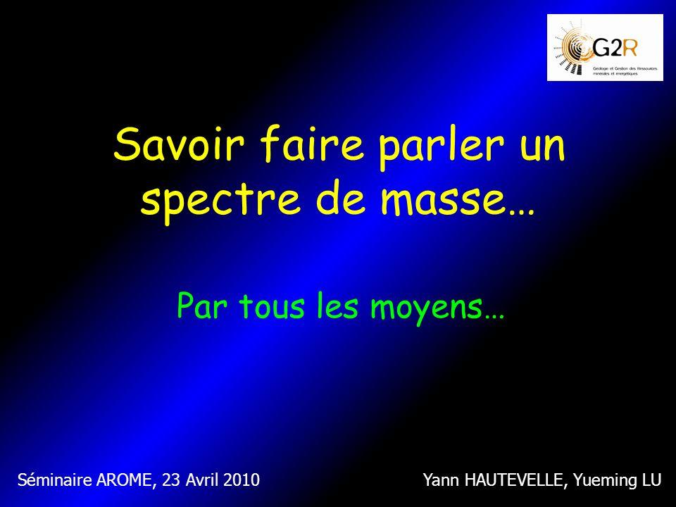Savoir faire parler un spectre de masse… Par tous les moyens… Yann HAUTEVELLE, Yueming LUSéminaire AROME, 23 Avril 2010