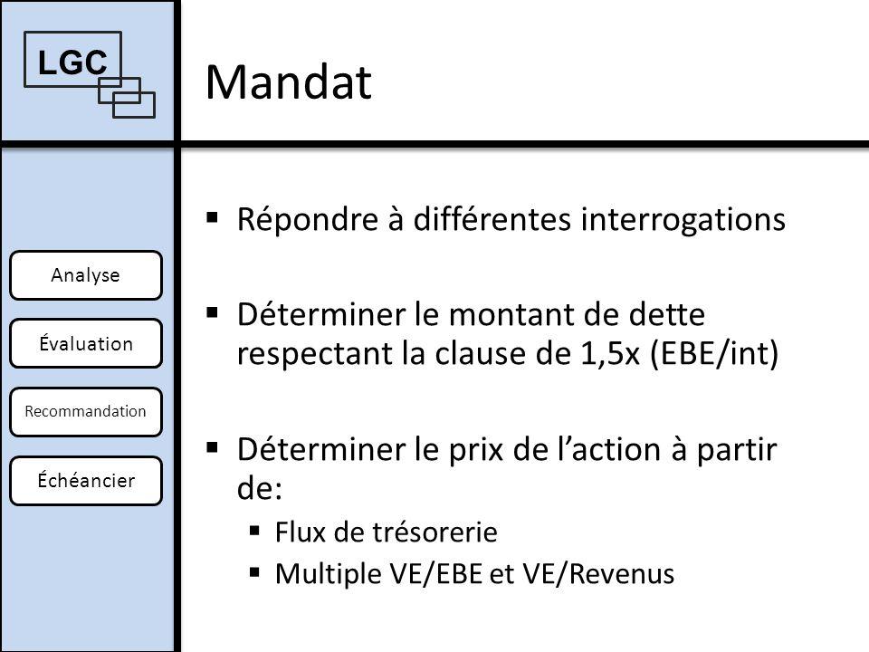 Évaluation de lentreprise Analyse Offre Recommandation Échéancier Multiples LGC OffreÉvaluation