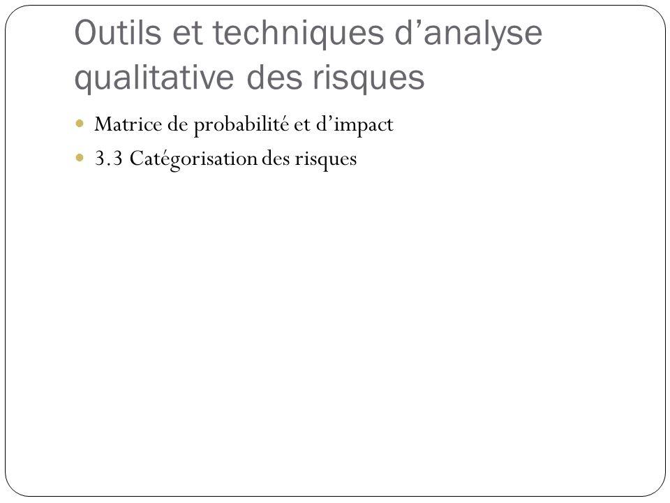 Outils et techniques danalyse qualitative des risques Matrice de probabilité et dimpact 3.3 Catégorisation des risques