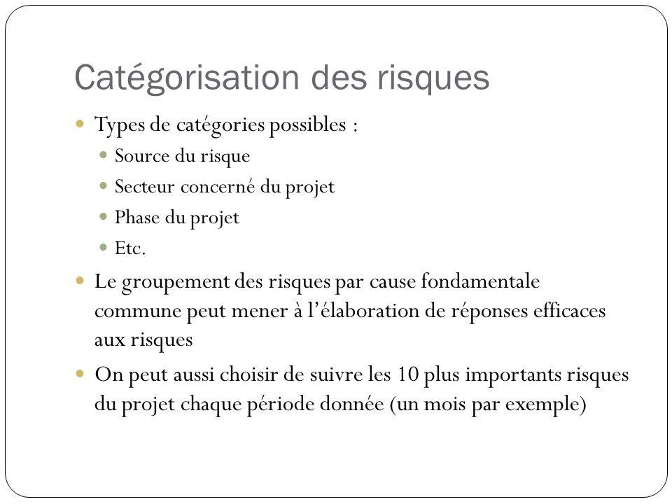 Catégorisation des risques Types de catégories possibles : Source du risque Secteur concerné du projet Phase du projet Etc. Le groupement des risques