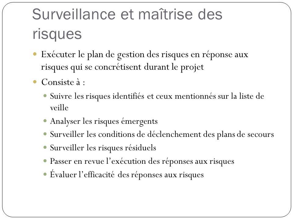 Surveillance et maîtrise des risques Exécuter le plan de gestion des risques en réponse aux risques qui se concrétisent durant le projet Consiste à :