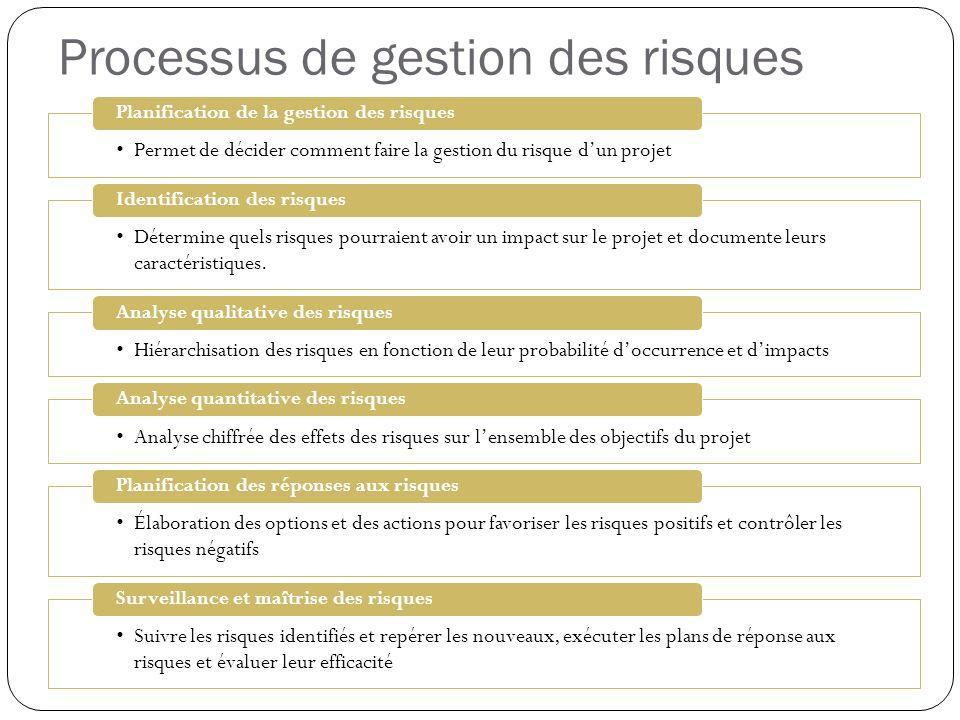 Processus de gestion des risques Permet de décider comment faire la gestion du risque dun projet Planification de la gestion des risques Détermine que
