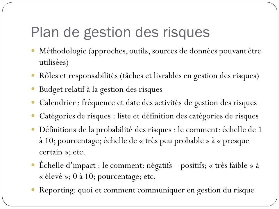 Plan de gestion des risques Méthodologie (approches, outils, sources de données pouvant être utilisées) Rôles et responsabilités (tâches et livrables