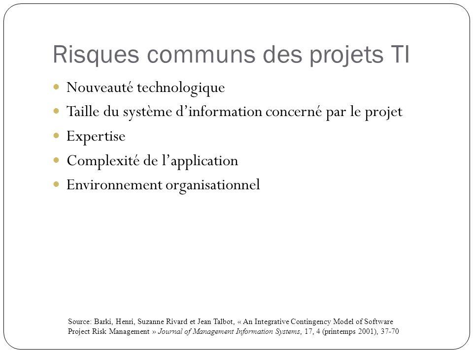 Risques communs des projets TI Nouveauté technologique Taille du système dinformation concerné par le projet Expertise Complexité de lapplication Envi