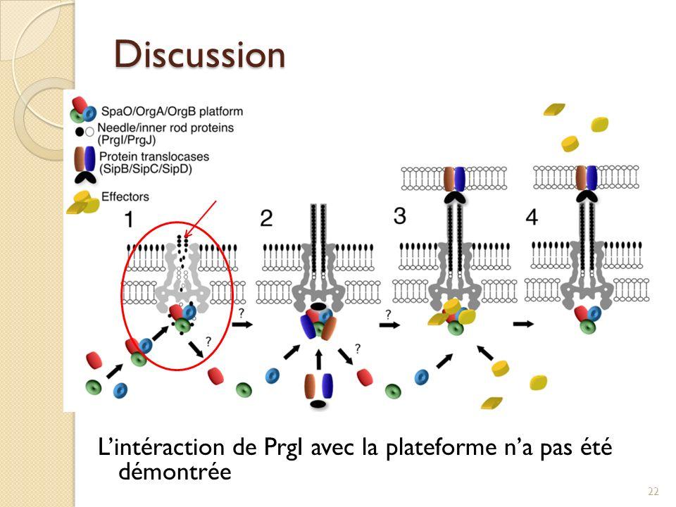 Discussion Lintéraction de PrgI avec la plateforme na pas été démontrée 22