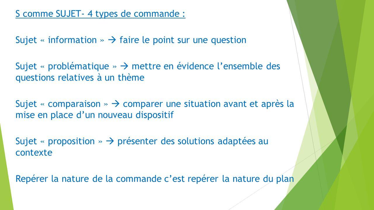 S comme SUJET- 4 types de commande : Sujet « information » faire le point sur une question Sujet « problématique » mettre en évidence lensemble des qu