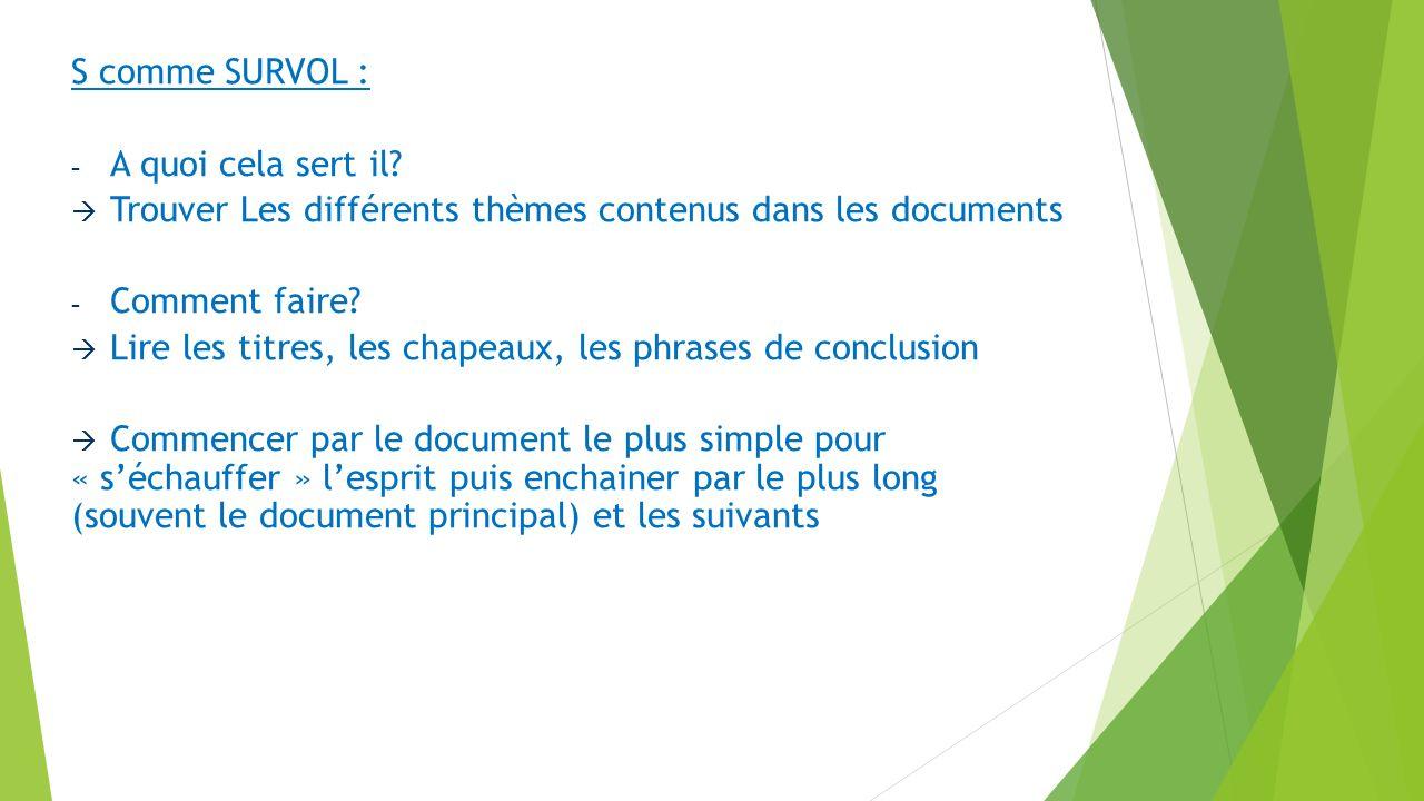 S comme SURVOL : - A quoi cela sert il? Trouver Les différents thèmes contenus dans les documents - Comment faire? Lire les titres, les chapeaux, les