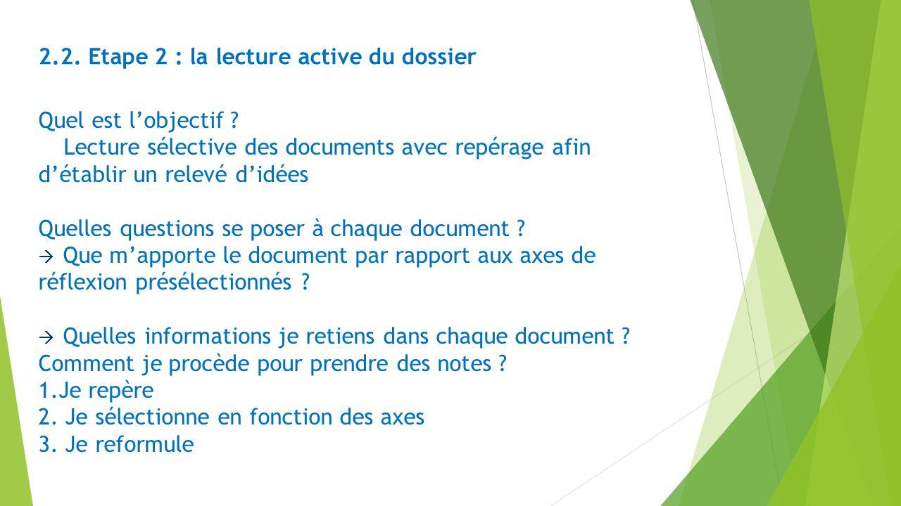 Quel est lobjectif ? Lecture sélective des documents avec repérage afin détablir un relevé didées Quelles questions se poser à chaque document ? Que m