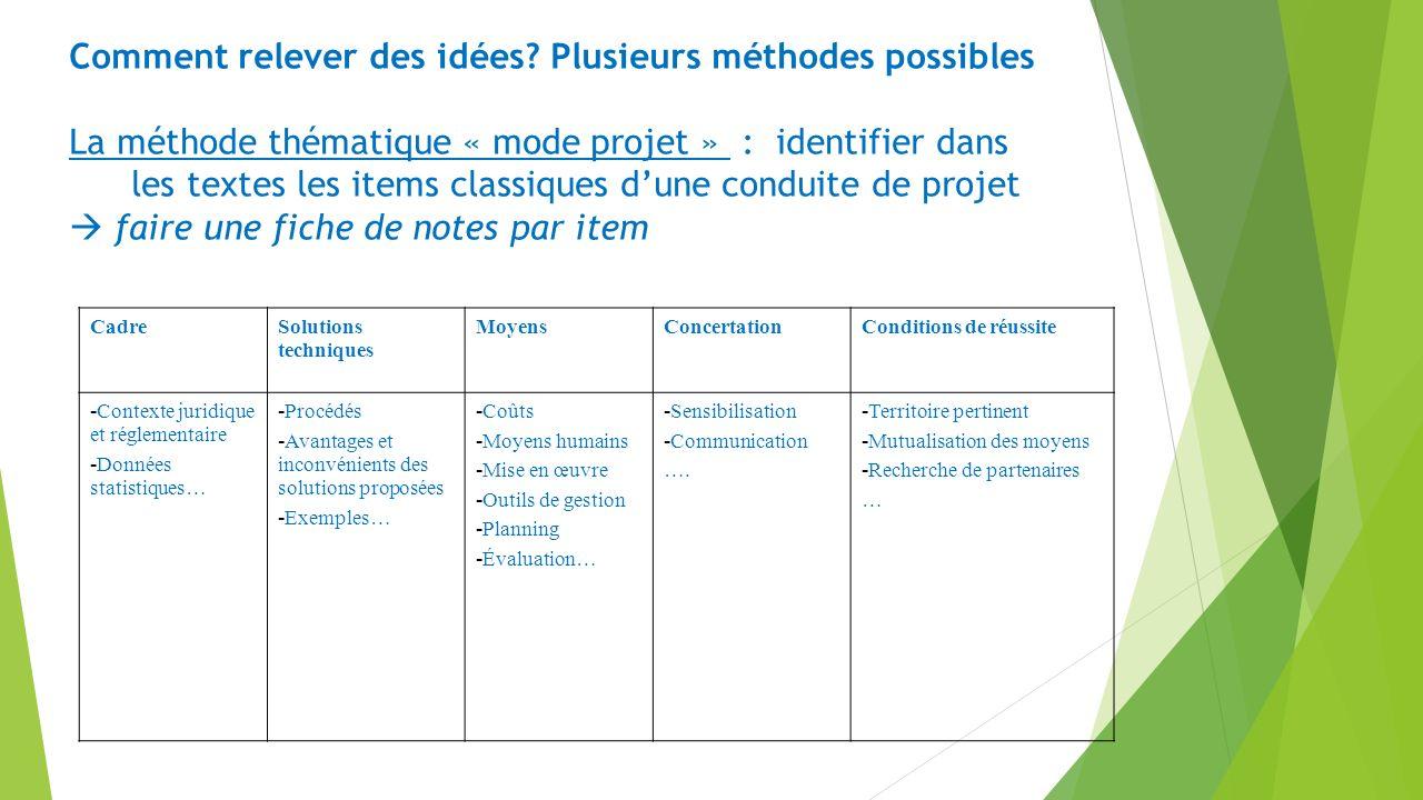 Comment relever des idées? Plusieurs méthodes possibles La méthode thématique « mode projet » : identifier dans les textes les items classiques dune c