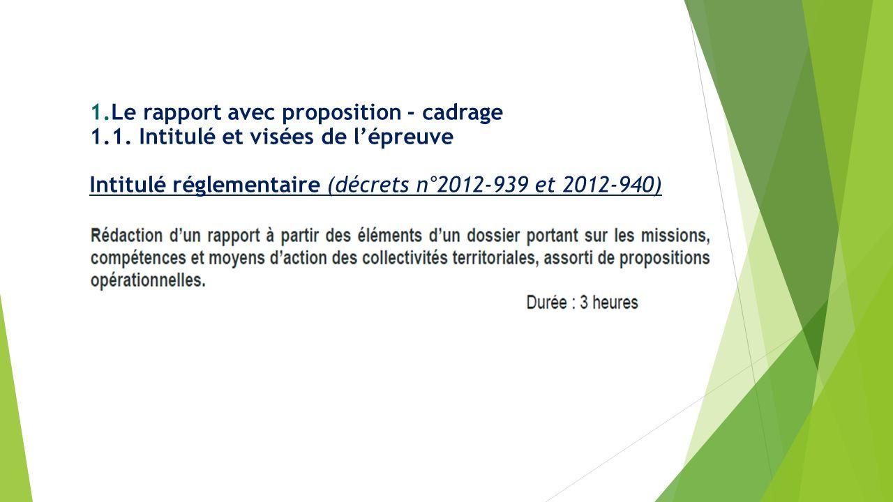 1.Le rapport avec proposition - cadrage 1.1. Intitulé et visées de lépreuve Intitulé réglementaire (décrets n°2012-939 et 2012-940)