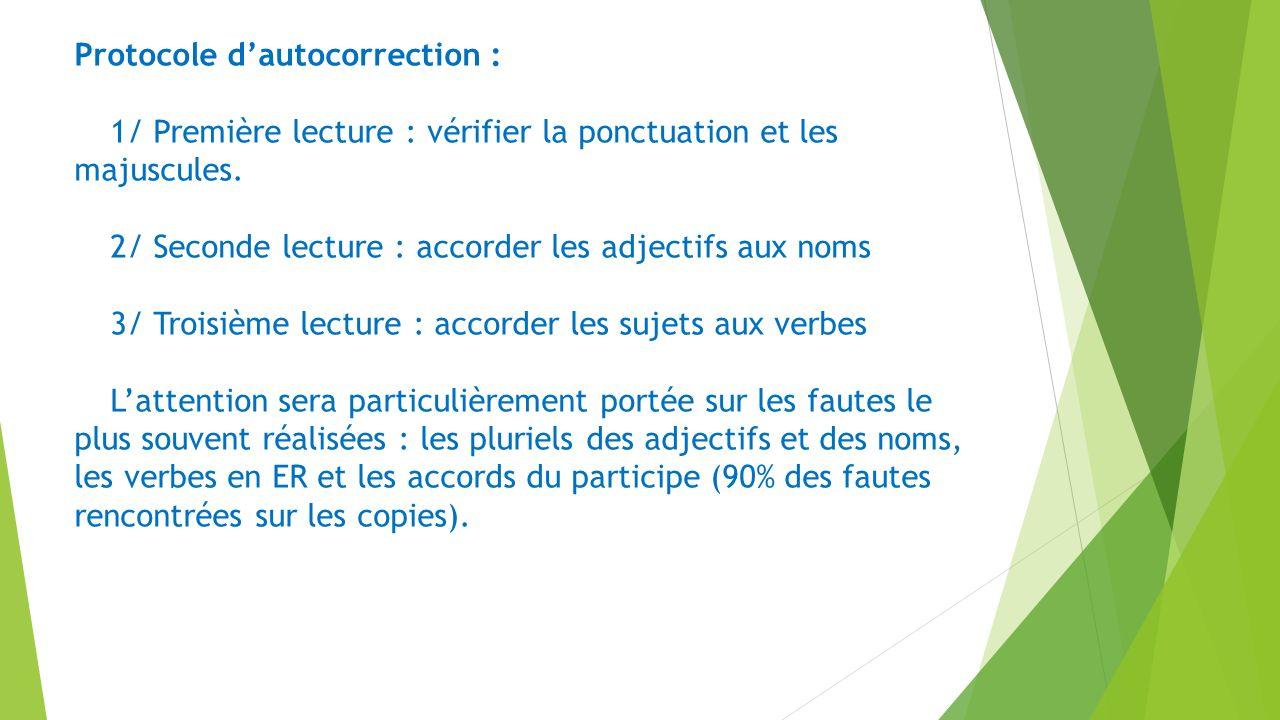 Protocole dautocorrection : 1/ Première lecture : vérifier la ponctuation et les majuscules. 2/ Seconde lecture : accorder les adjectifs aux noms 3/ T