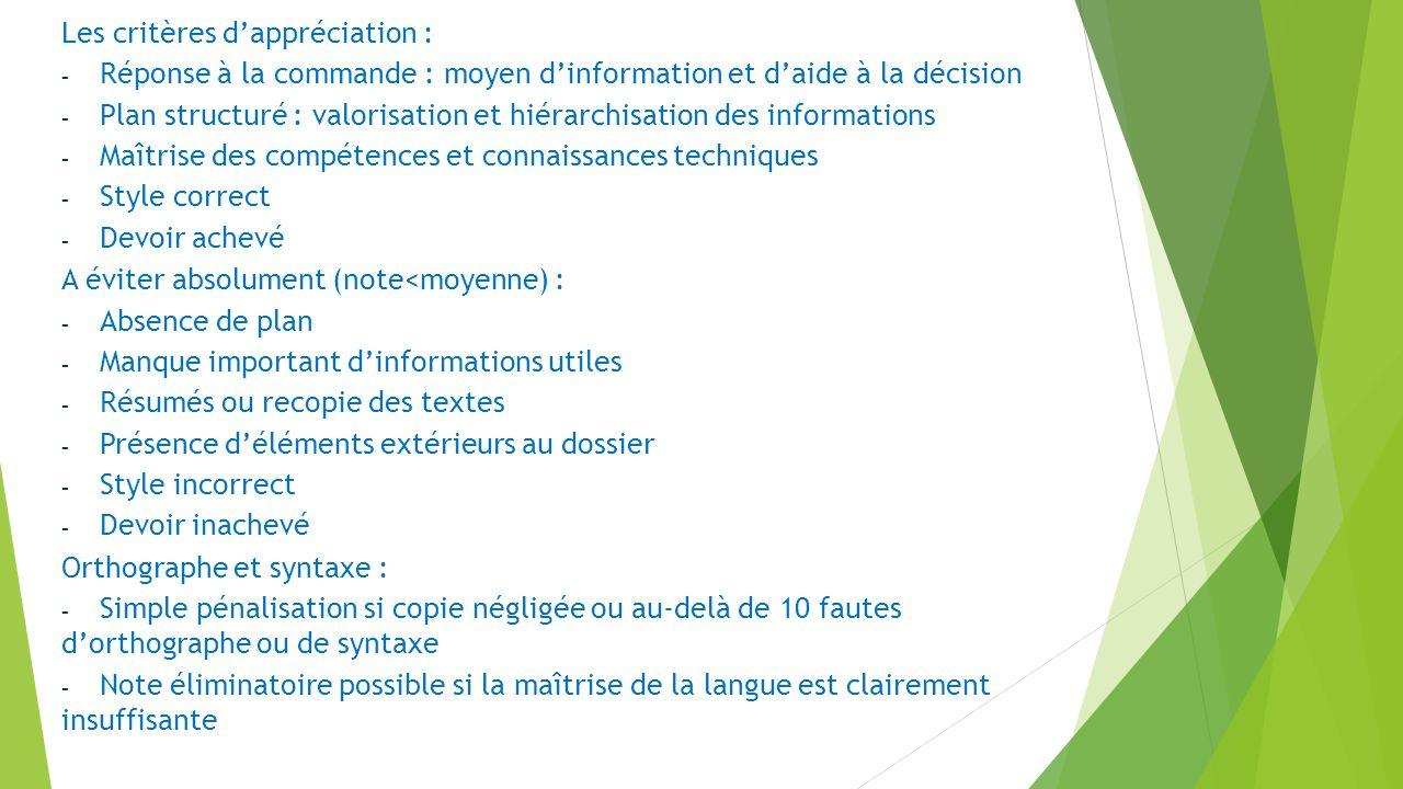 Les critères dappréciation : - Réponse à la commande : moyen dinformation et daide à la décision - Plan structuré : valorisation et hiérarchisation de