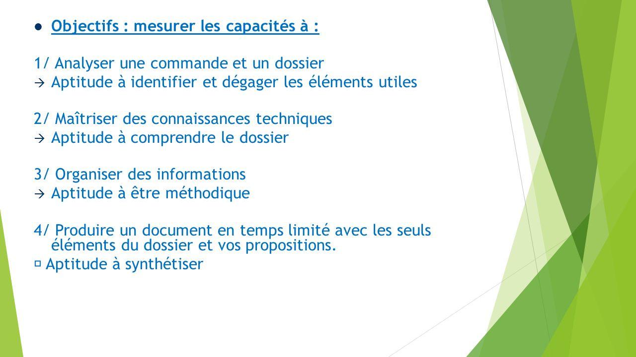 Objectifs : mesurer les capacités à : 1/ Analyser une commande et un dossier Aptitude à identifier et dégager les éléments utiles 2/ Maîtriser des con