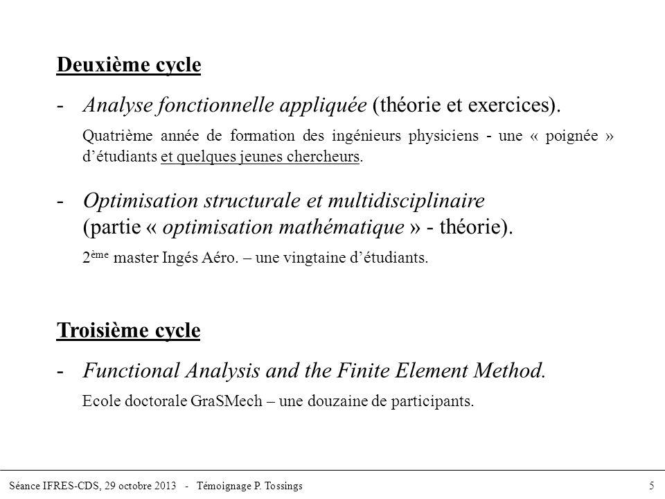Deuxième cycle -Analyse fonctionnelle appliquée (théorie et exercices). Quatrième année de formation des ingénieurs physiciens - une « poignée » détud