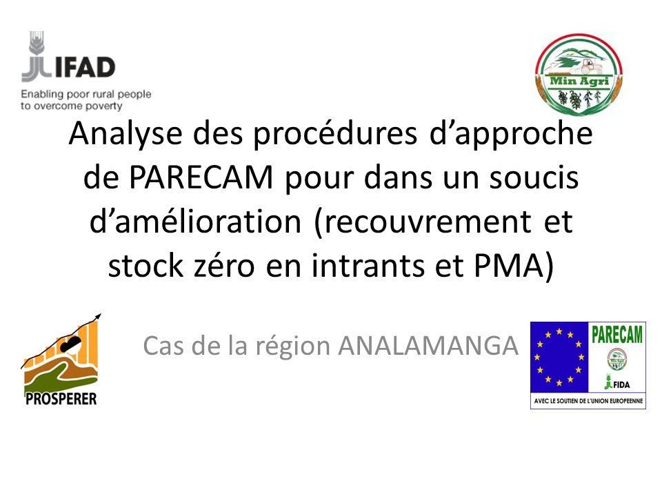 Analyse des procédures dapproche de PARECAM pour dans un soucis damélioration (recouvrement et stock zéro en intrants et PMA) Cas de la région ANALAMANGA