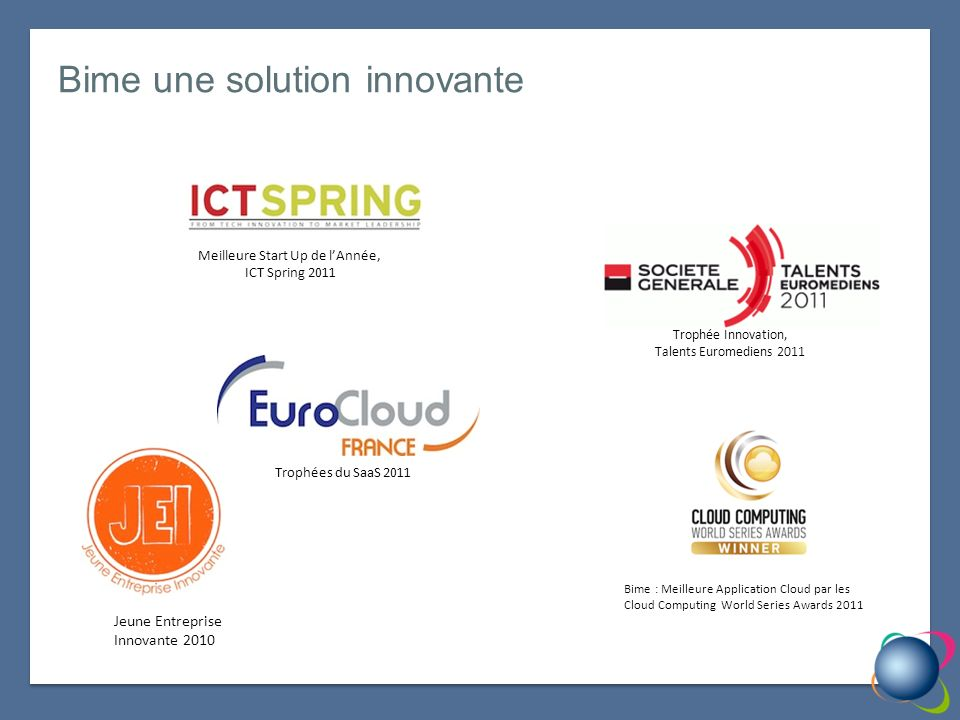 Bime une solution innovante Trophée Innovation, Talents Euromediens 2011 Meilleure Start Up de lAnnée, ICT Spring 2011 Bime : Meilleure Application Cloud par les Cloud Computing World Series Awards 2011 Trophées du SaaS 2011 Jeune Entreprise Innovante 2010