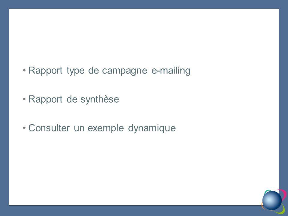 Rapport type de campagne e-mailing Rapport de synthèse Consulter un exemple dynamique