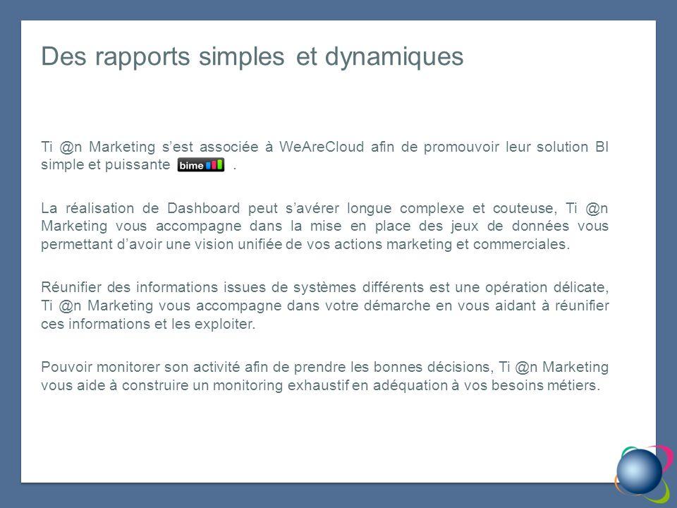 Des rapports simples et dynamiques Ti @n Marketing sest associée à WeAreCloud afin de promouvoir leur solution BI simple et puissante.