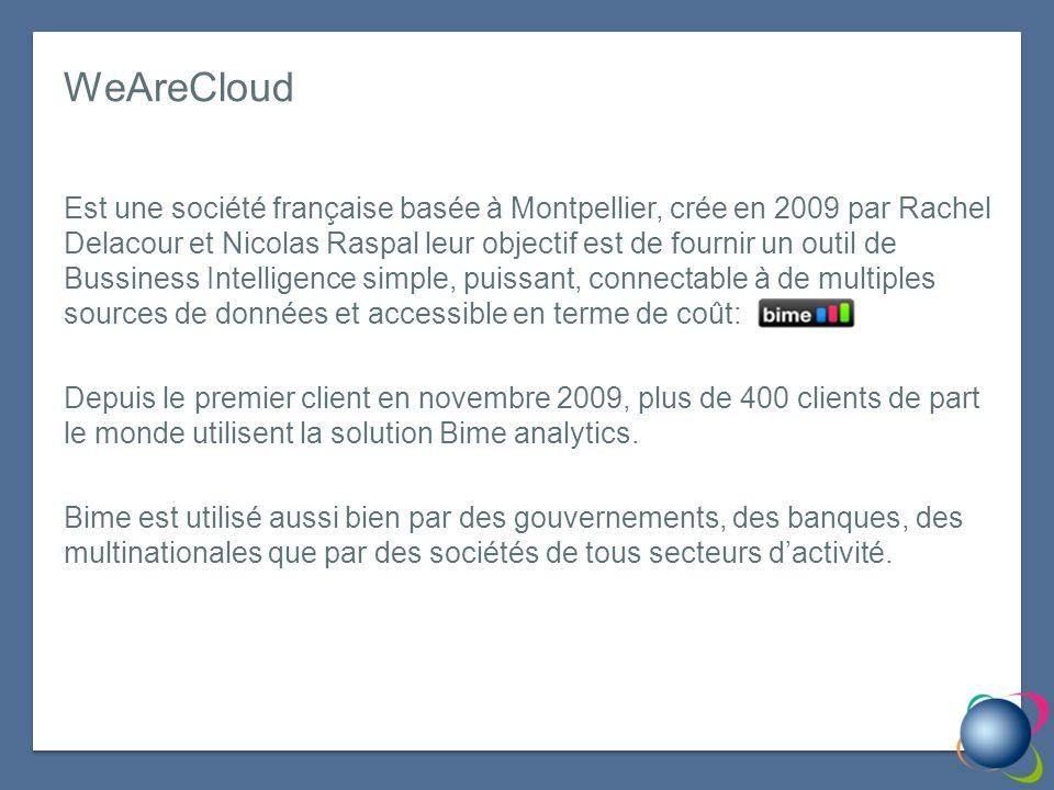 WeAreCloud Est une société française basée à Montpellier, crée en 2009 par Rachel Delacour et Nicolas Raspal leur objectif est de fournir un outil de Bussiness Intelligence simple, puissant, connectable à de multiples sources de données et accessible en terme de coût: Depuis le premier client en novembre 2009, plus de 400 clients de part le monde utilisent la solution Bime analytics.