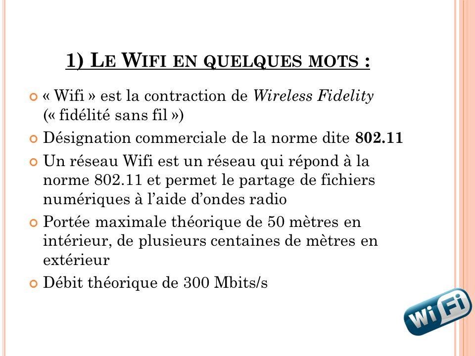 1) L E W IFI EN QUELQUES MOTS : « Wifi » est la contraction de Wireless Fidelity (« fidélité sans fil ») Désignation commerciale de la norme dite 802.
