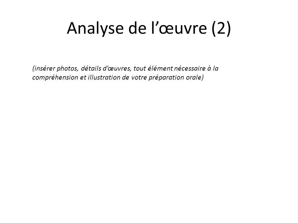 Analyse de lœuvre (2) (insérer photos, détails dœuvres, tout élément nécessaire à la compréhension et illustration de votre préparation orale)